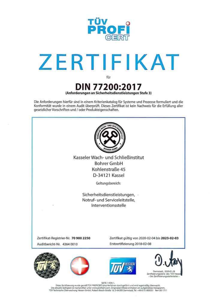 Urkunde Zertifizierung DIN 77200 - Kasseler Wach- und Schliessinstitut Bohrer GmbH Kassel