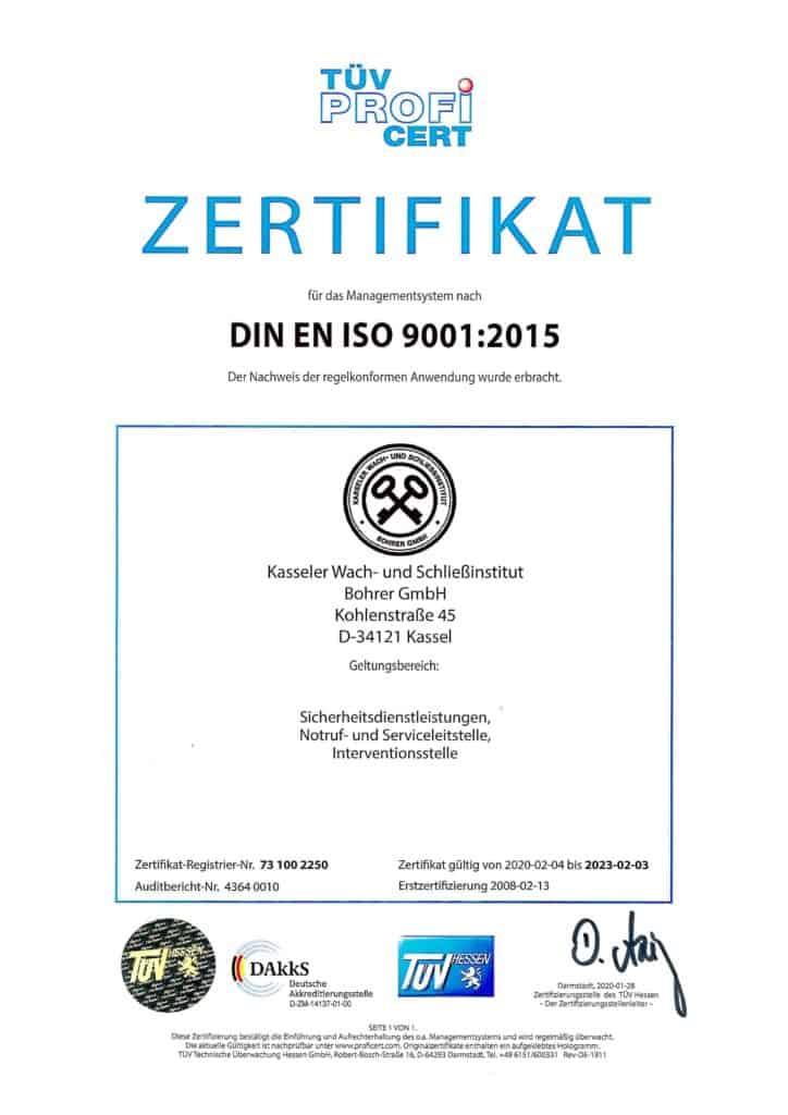 Urkunde Zertifizierung DIN EN ISO 9001 - Kasseler Wach- und Schliessinstitut Bohrer GmbH Kassel
