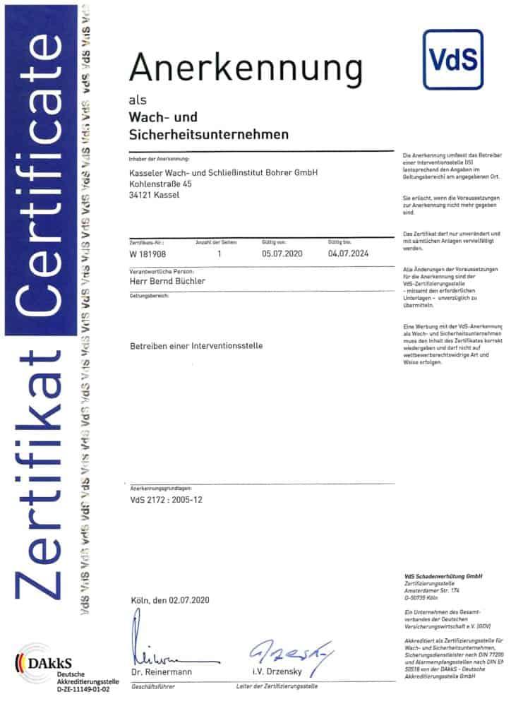 Zertifikat VdS 2172 - Kasseler Wach- und Schliessinstitut Bohrer GmbH Kassel