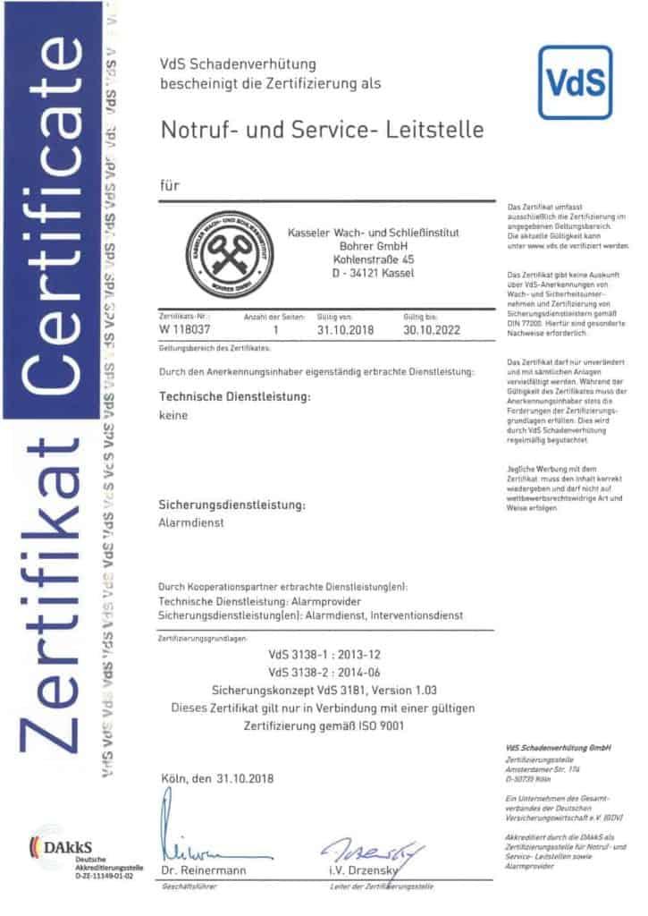 Zertifikat VdS 3138 - Kasseler Wach- und Schliessinstitut Bohrer GmbH Kassel